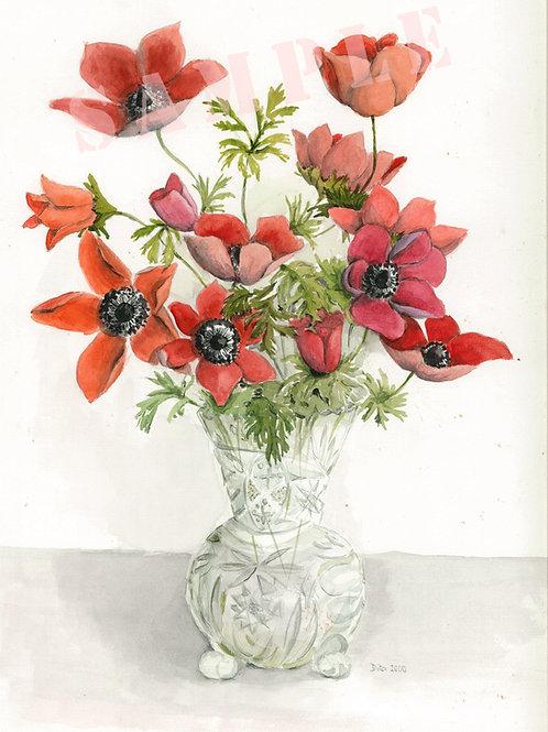 Anemonies in crystal vase. 2000