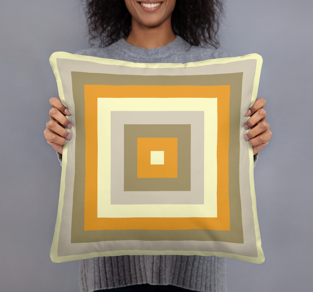 Graduated Square linen feel  pillow cover in gold $34