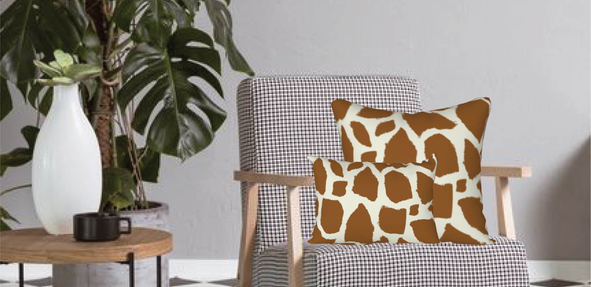 "18"" square giraffe pillow cover $28 20""x12"" long pillow cover $27"