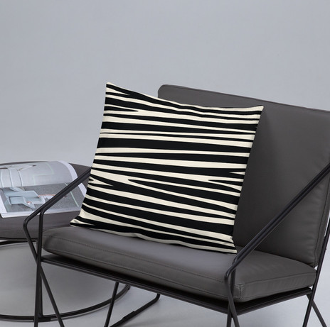 """18"""" pillow cover abstract zebra stripe in black and cream $28"""