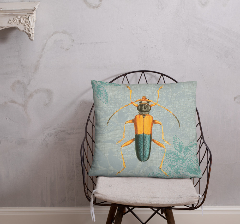 """22"""" beetle pillow cover $30"""