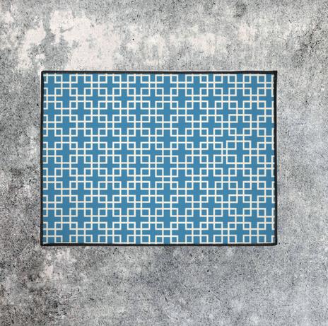 modern blue breeze block rug $35