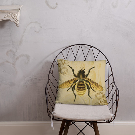 """18"""" gold bee pillow cover linen feel $34 to purchase follow the link"""