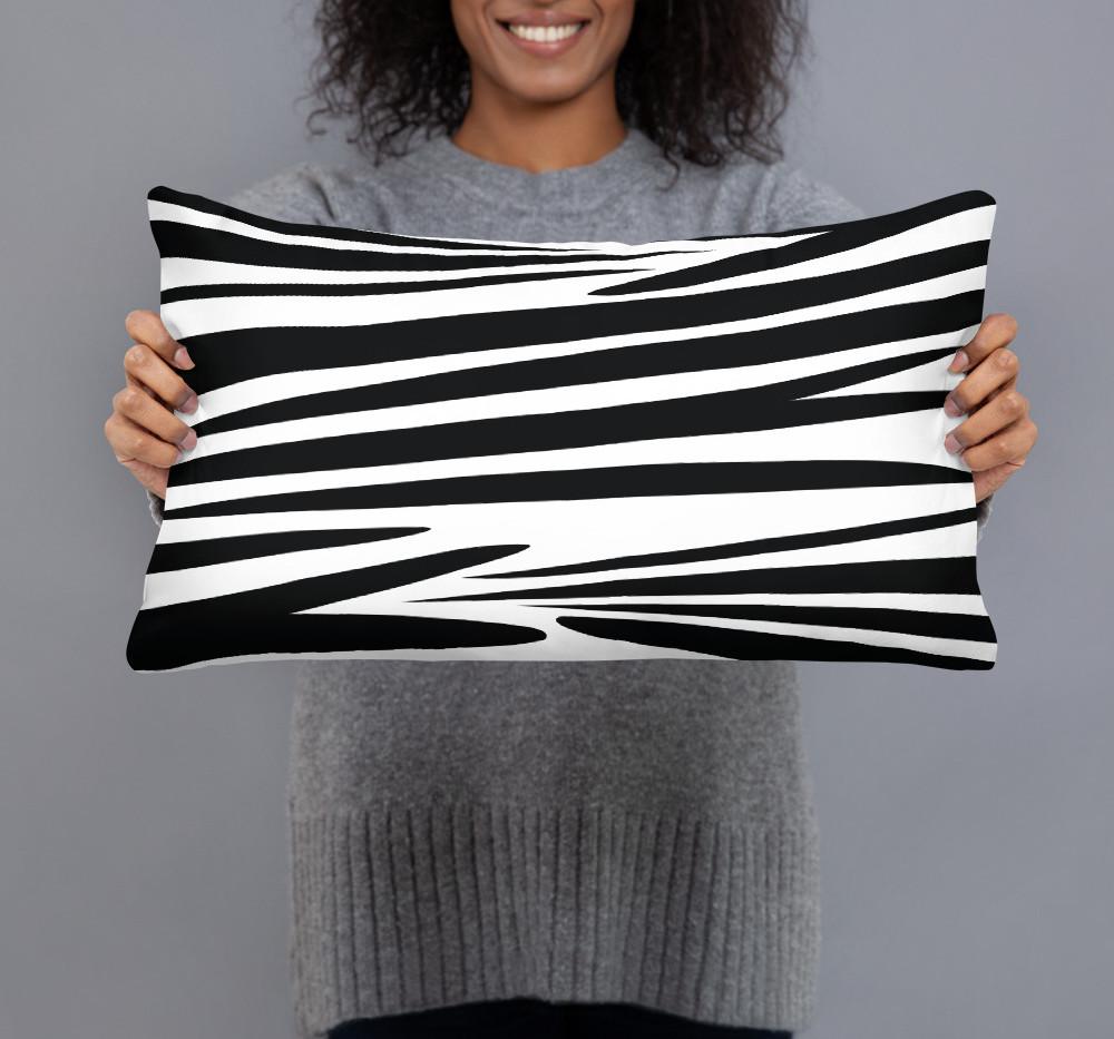 abstract zebra stripe pillow in linen feel premium fabric $43