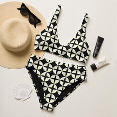black and white recycled bikini