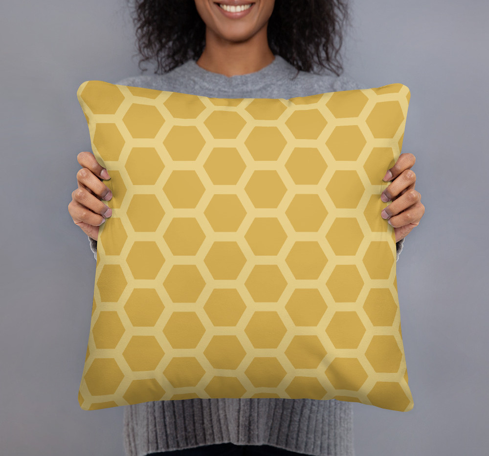 """22"""" X 22"""" Honeycomb premium pillow in gold $47 to purchase use link below"""