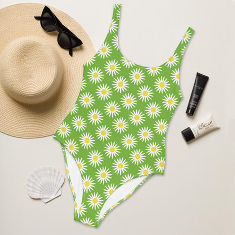 Daisy One Piece Swimsuit in Lime Zest