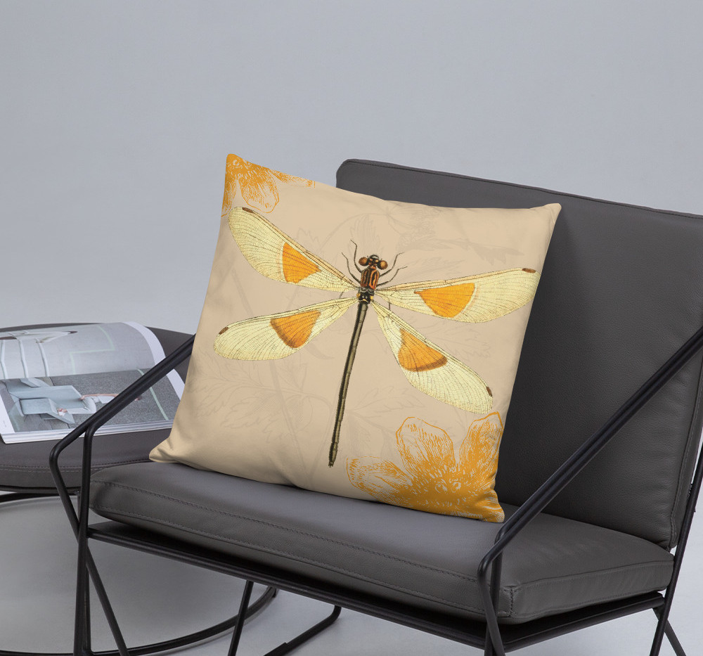 """22"""" square dragonfly pillow cotton canvas cover $48 use link below to purchase"""