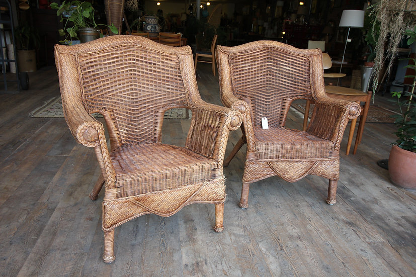 SOLD - Pair Wicker Chairs