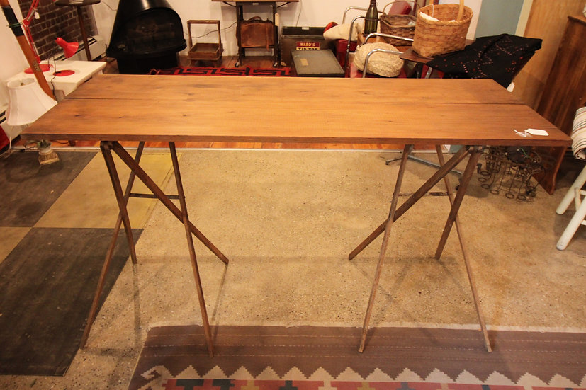 SOLD - Vintage Sawhorse Table