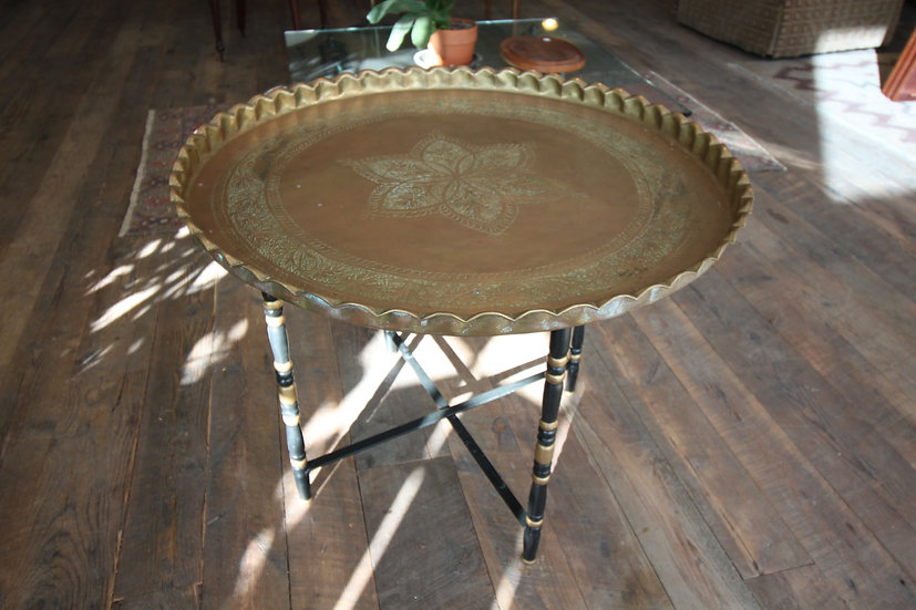 Mid-Century Brass Tray Table