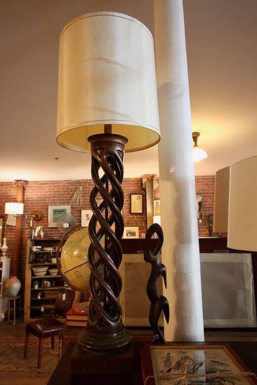 SOLD - Wood Helix Lamp