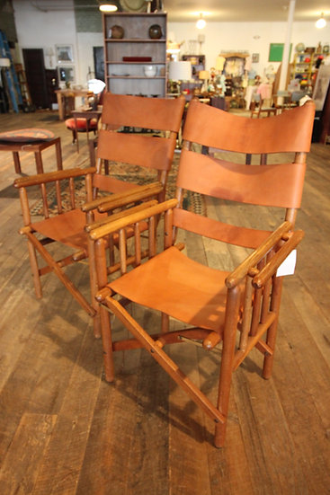 Pair Vintage Folding Leather Campaign Chairs