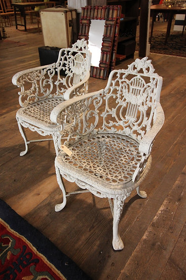 Pair of Cast Garden Chairs