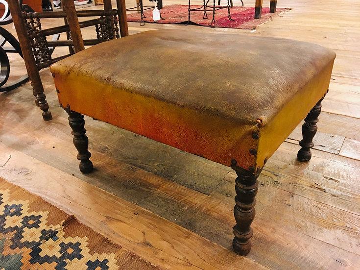 Antique Heywood Wakefield Leather Ottoman