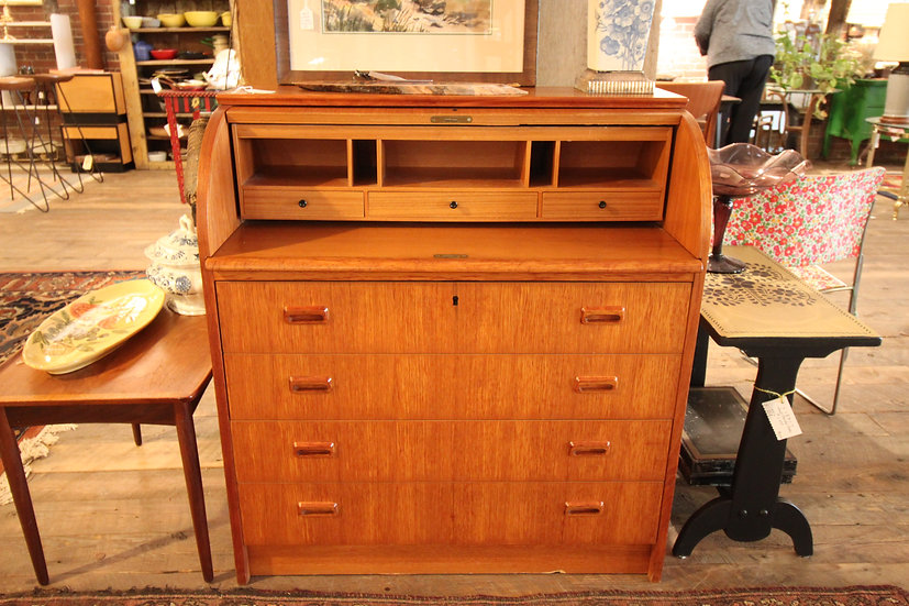 Swedish Teak Roll-Top Desk
