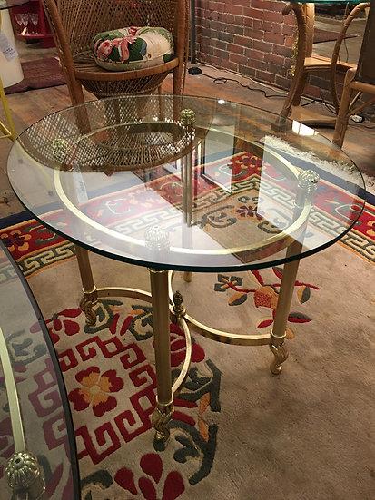 Brass-Plate & Glass Table