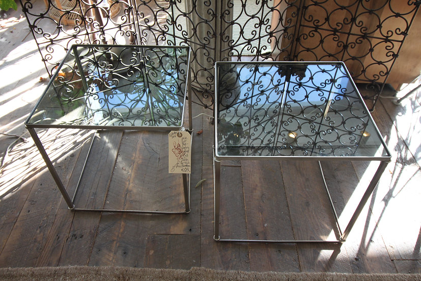 Pair Chrome and Glass Tables