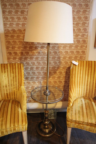 SOLD - Mid-Century Brass and Glass Table Lamp