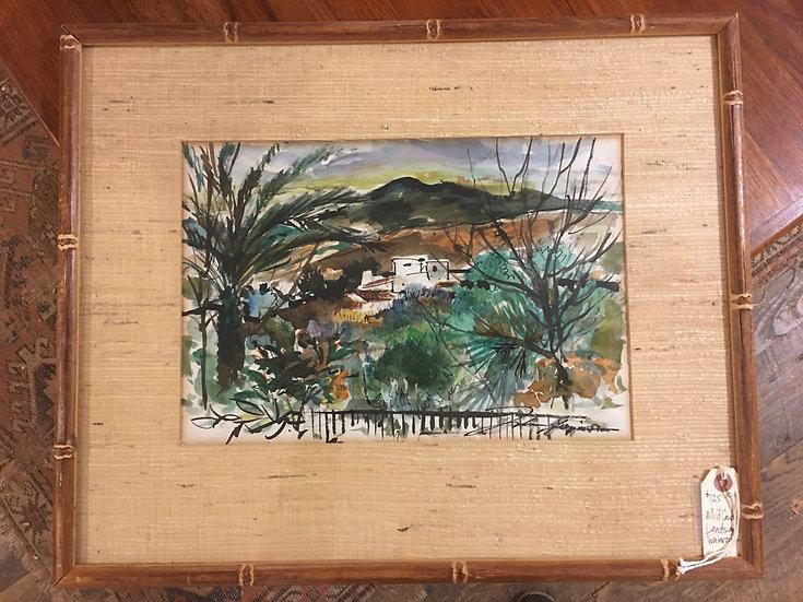 Mid-Century Landscape Watercolor