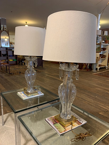 Glass and Crystal Lamps (2 Available)