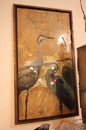 SOLD - Mixed Media of Herons on Vintage Chart