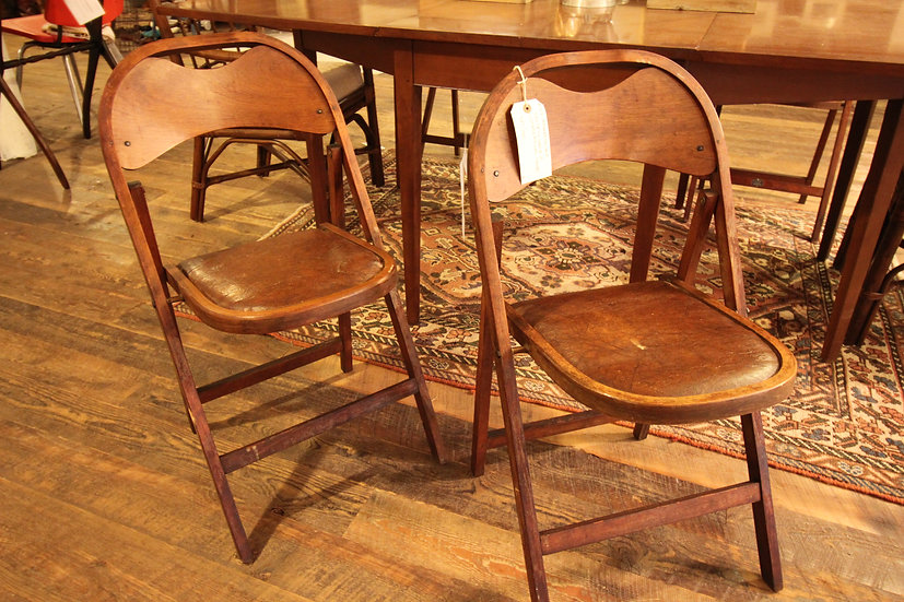 SOLD - Set Four Folding Chairs
