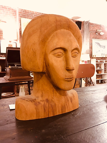 Deco-Style Carved Wood Bust