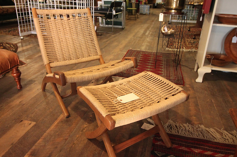 SOLD - Wegner Style Rope Chair & Ottoman