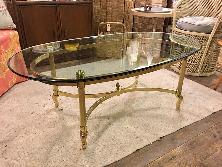 Mid-Century Brass-Plate & Glass Coffee Table