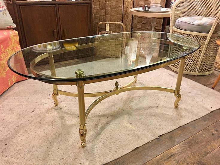 Mid-Century Brass & Glass Coffee Table
