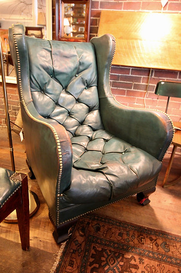 Vintage Tufted Leather Armchair & Foot Stool