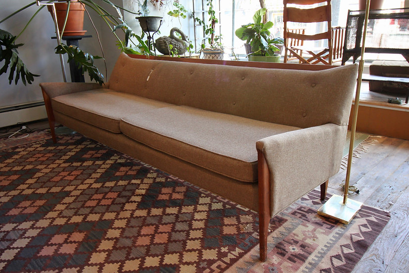Mid-Century Danish Teak and Wool Sofa