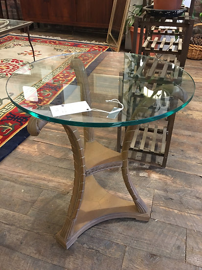 Vintage Glass Top Table (2 Available)