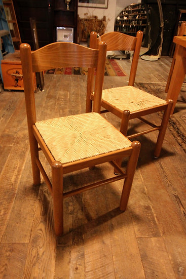 Pair of Rush Seat Dining Chairs
