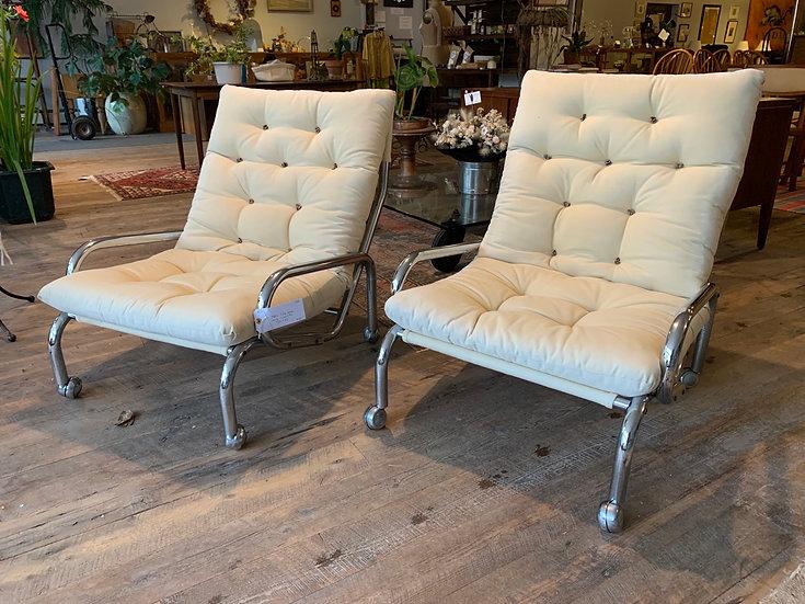 Pair Modern Tufted Armchairs