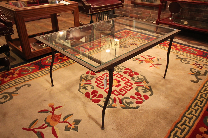 SOLD - Iron & Glass Coffee Table