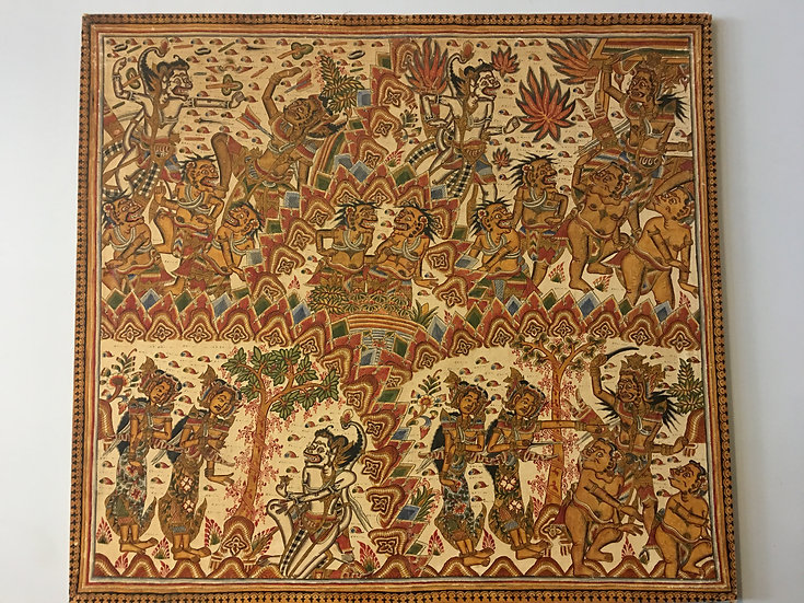 Stretched Balinese Fabric Painting
