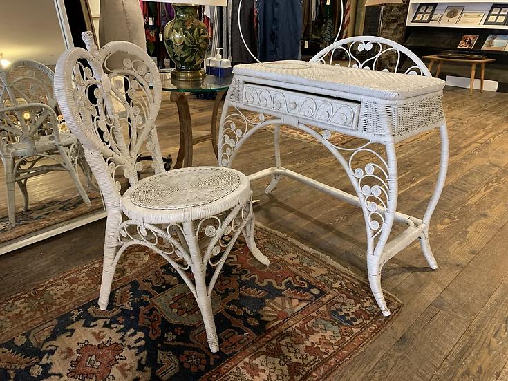 Baroque Wicker Vanity/Desk and Chair.