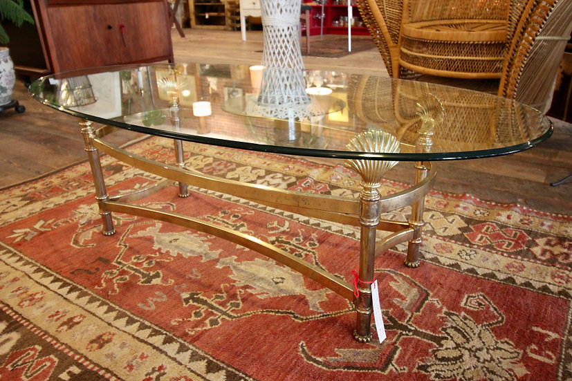 SOLD - Brass and Glass Coffee Table