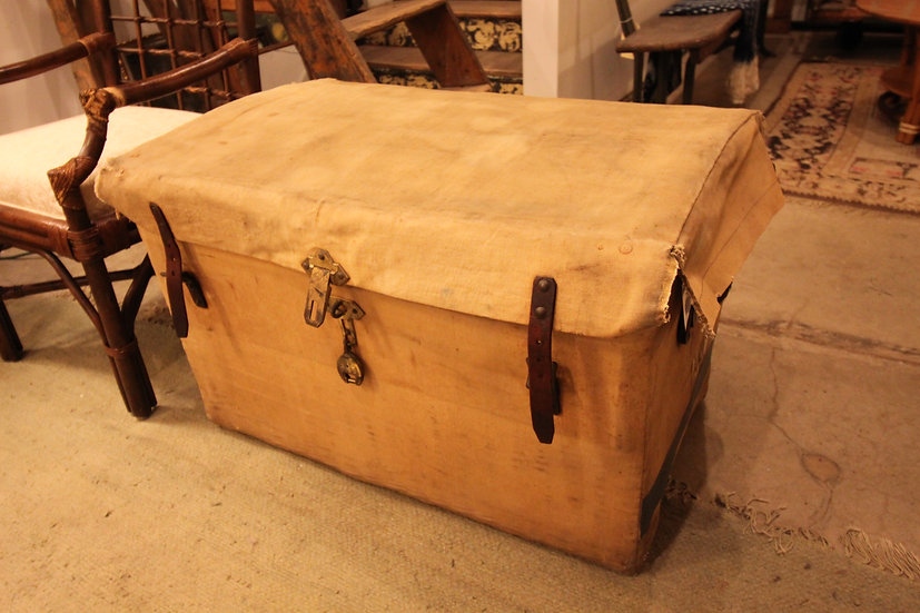 SOLD - Canvas Covered Wicker Trunk