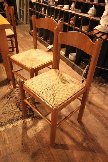 Set (4) Rush Seat Chairs
