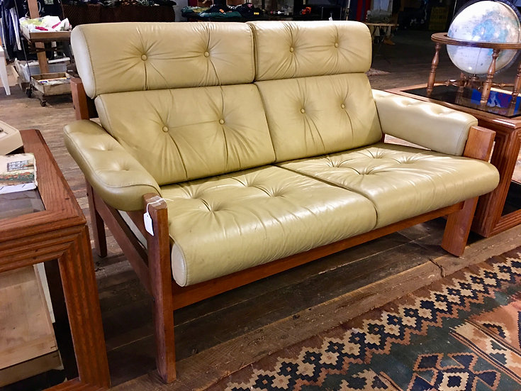 SOLD - Mid-Century Leather Settee