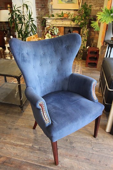 SOLD - Blue Velvet Wingback Chair