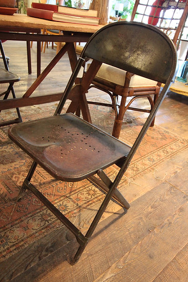 SOLD - Pair Antique Folding Metal Chairs
