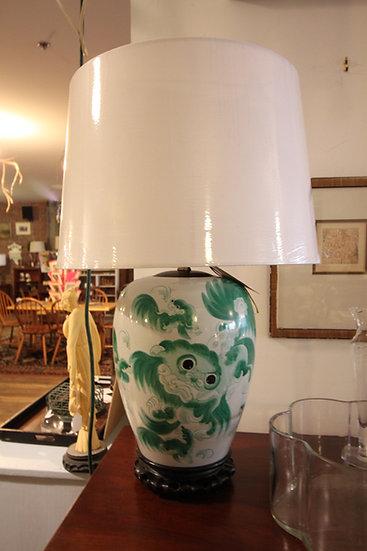 Hand-Painted Foo Dog Lamp