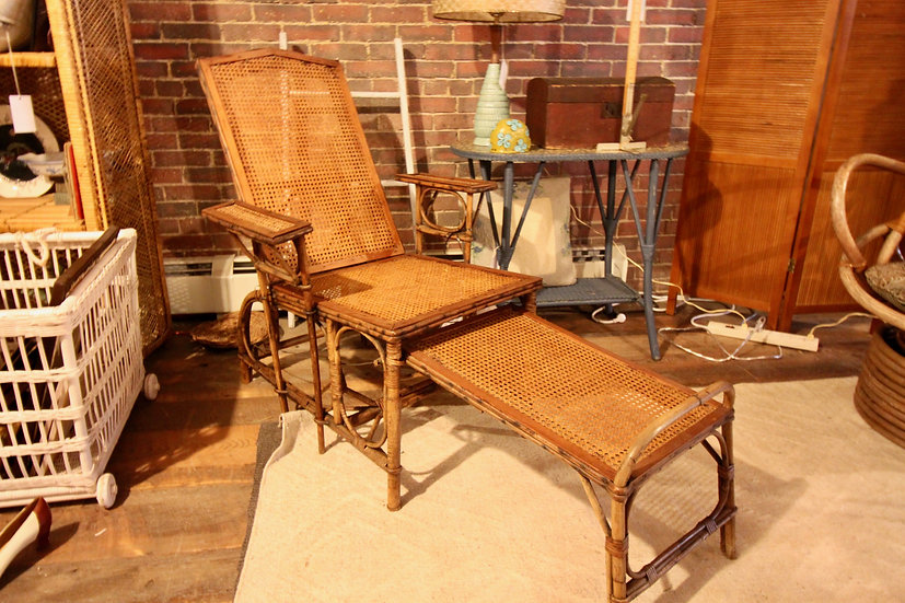 SOLD - Antique Caned Deck Chair