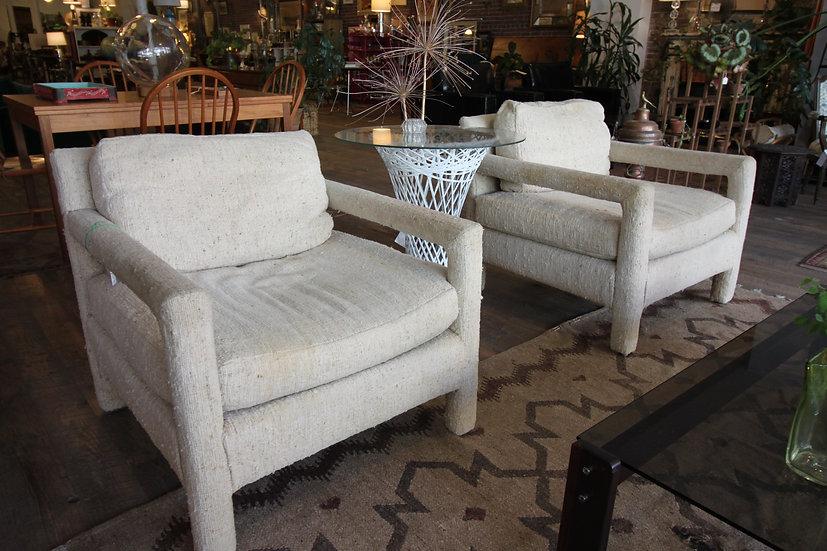 SOLD - Pair Milo Baughman Style Armchairs