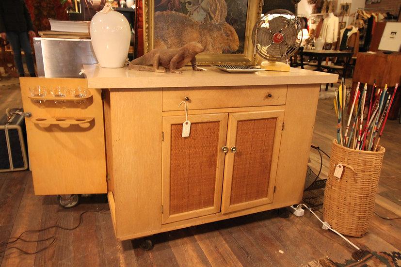 SOLD - Mid-Century Bar Cabinet & Barware