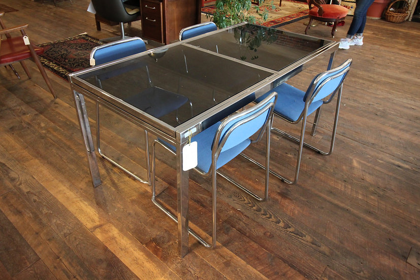 Milo Baughman-Style Expandable Dining Table